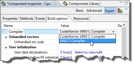 Changing Compiler in CPU Properties