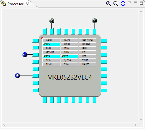 KL05Z with 32 pins in Processor View