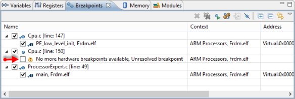 No more hardware breakpoints available
