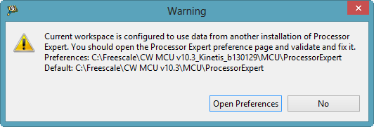 Processor Expert Workspace Warning