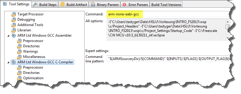 Compiling C Files with GNU ARM G++   MCU on Eclipse