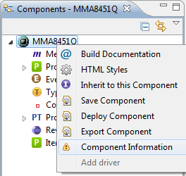 Component Information Context Menu