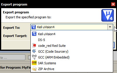 Exporting Program IDE Selection
