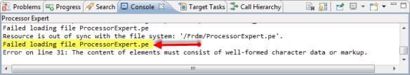 Failed loading file ProcessorExpert.pe
