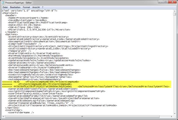 Merge Information in ProcessorExpert.pe File