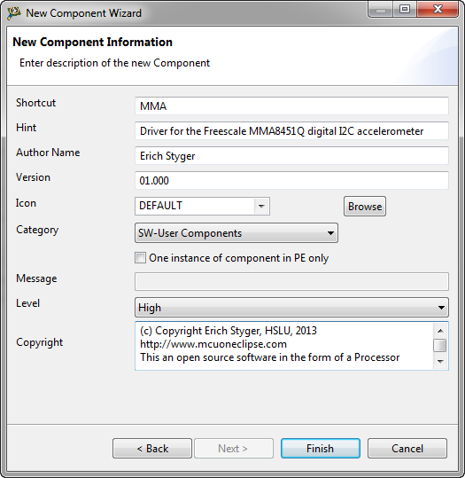 Tutorial: Creating a Processor Expert Component for an Accelerometer
