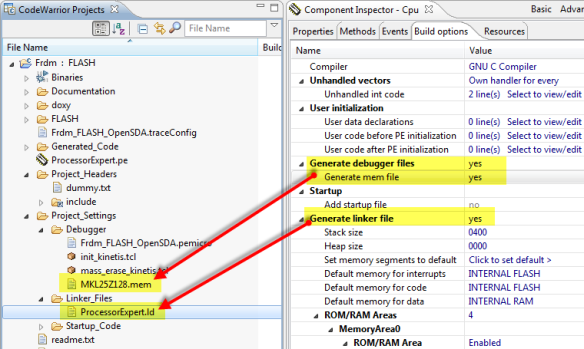 Processor Expert generated memory and linker file