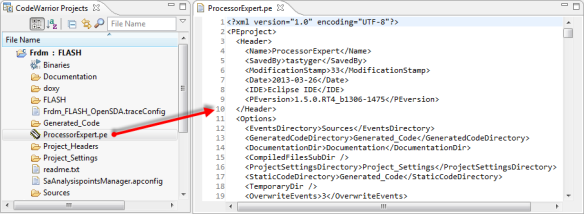 ProcessorExpert.pe XML file