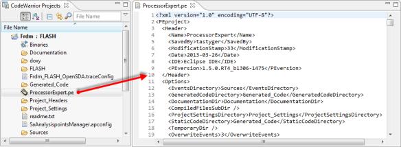 ProcessorExpert.pe XML file