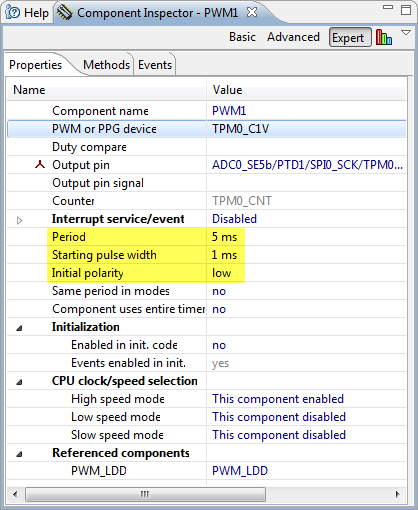 PWM settings in component