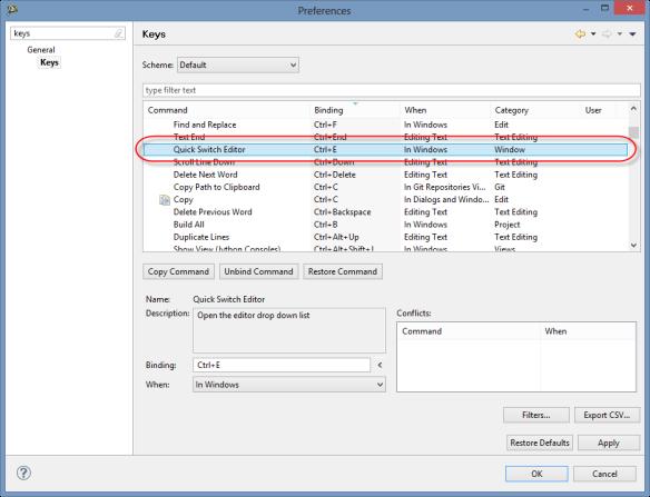 Quick Switch Editor Shortcut Configuration