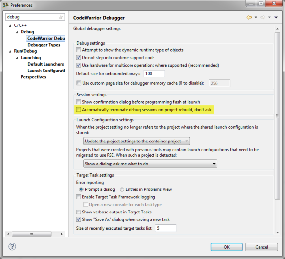 Automatically terminate debug sessions on project rebuild