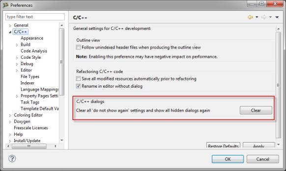 Clear all 'do not show again' settings and show all hidden dialogs again