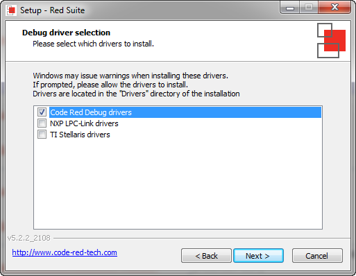 Code Red Debug Drivers