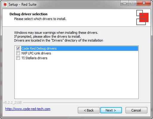Code Red Debug Drivers