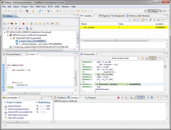 CodeWarrior MCU10.3 debugging the FRDM-KL05Z with USBDM