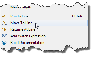 Stepping Backwards while Debugging: Move To Line | MCU on Eclipse