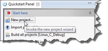 New Project in Quickstart Panel