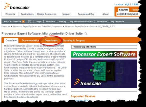 Processor Expert Driver Suite Pag