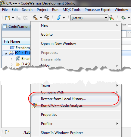 Restore Deleted Files in Eclipse with Local History   MCU on