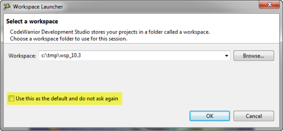 Select a workspace dialog