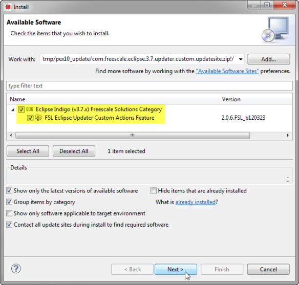 Selected Eclipse Updater
