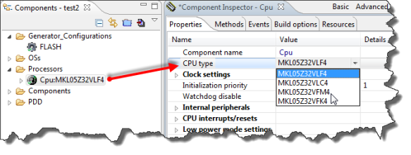 Selecting CPU Type in Inspector