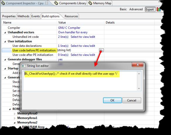 User Code before PE initialization