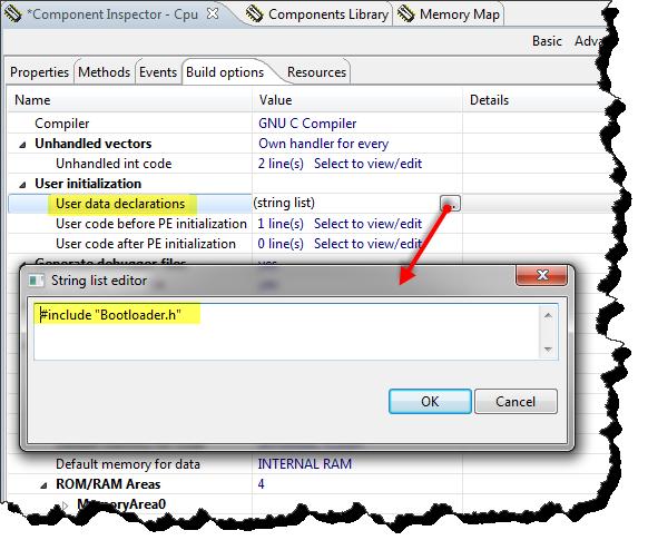 User data declarations
