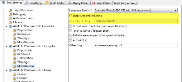 Enable Assembler Listing Option