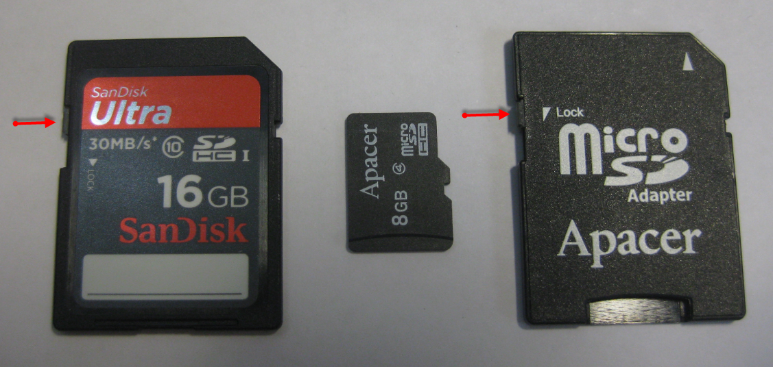 ... SD-Card, a micro-SD Card and a micro-SD card adapter, both with write