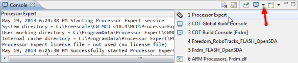 Selecting Processor Expert Console Output View