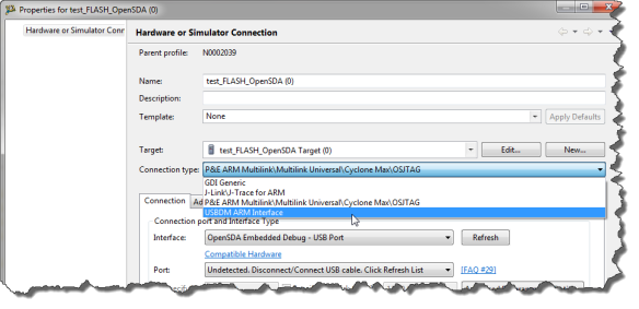 Selecting USBDM ARM Connection