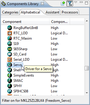 Servo Component in Components Library View