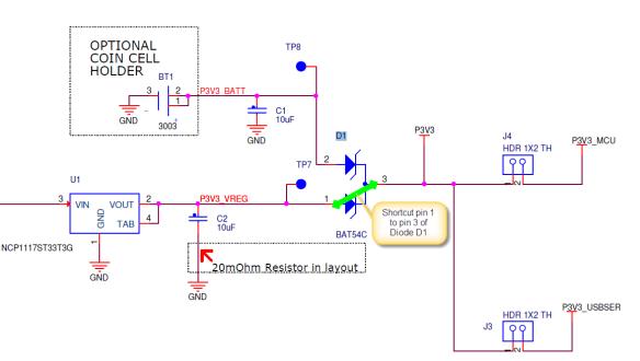 Shortcut on D1 of FRDM-KL25Z