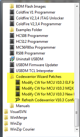 USBDM Shortcuts to patch CodeWarrior Wizard