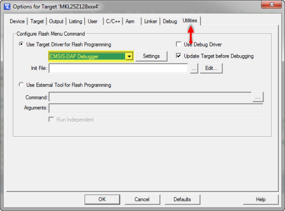 CMSIS-DAP Debugger in Utilities