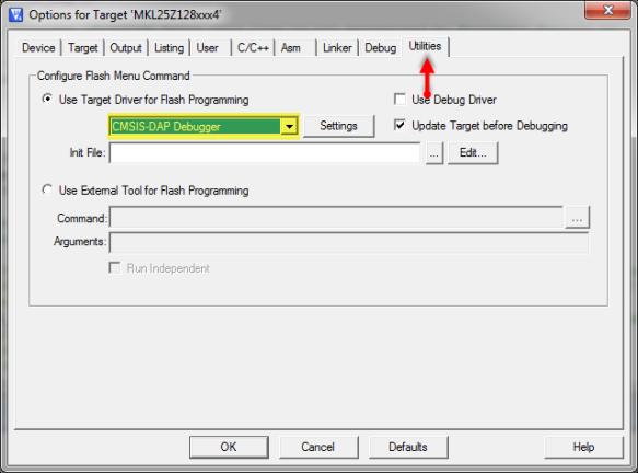 CMSIS-DAP Debugger in Utilities