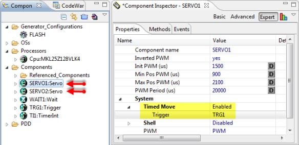Configured Timed Move for Servos
