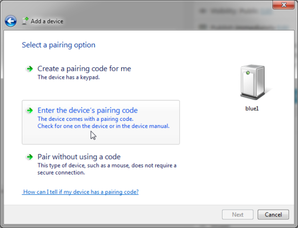 Enter the device's paring code