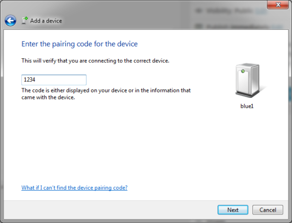 Enter the pairing code for the device
