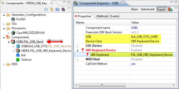 FSL_USB_Stack Configured for USB HID Keyboard