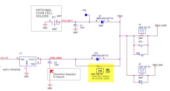 J20 header to bypass D12 (Source: Freescale KL25Z RevE Schematics)
