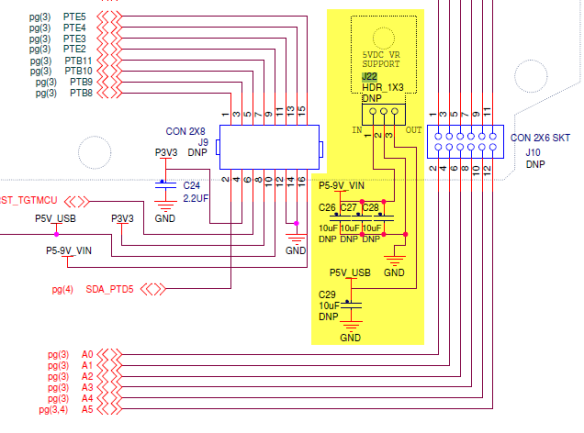 J22 Schematic (Source: Freescale FRDM-KL25Z RevE Schematic)