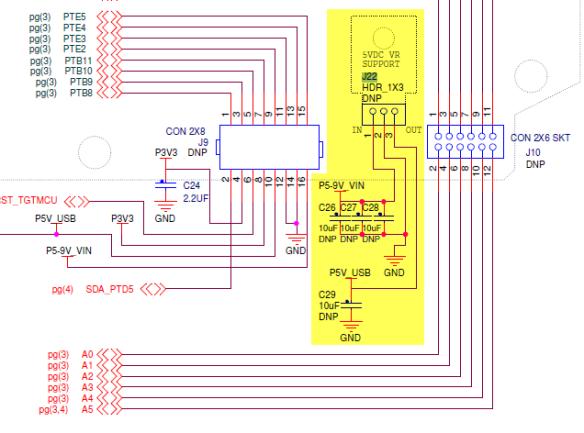 J22 Schematic (Source: Freescale FRDM-KL25Z RevE Schematic)