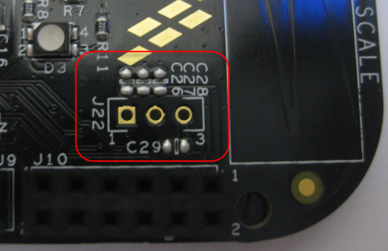 J22 with Capacitors on FRDM-KL25Z RevE