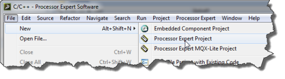 New Processor Expert Project