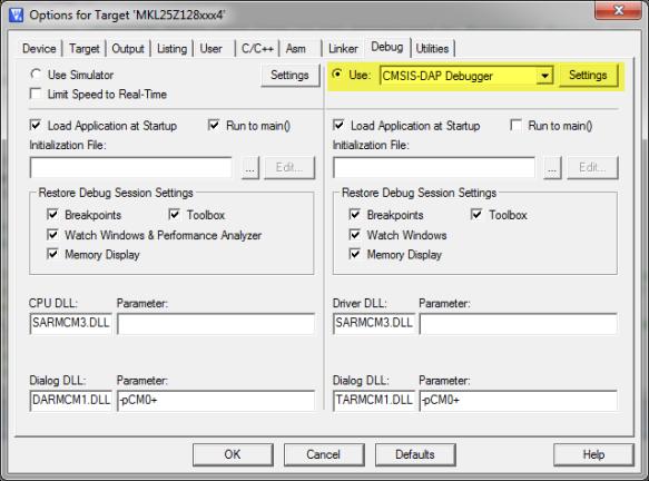 Project Options for CMSIS-DAP Debugger