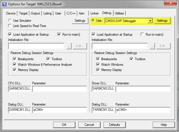 Project Options for CMSIS-DAP Debugger
