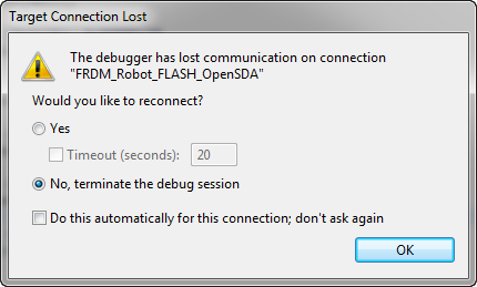 The Debugger has lost communication on connection